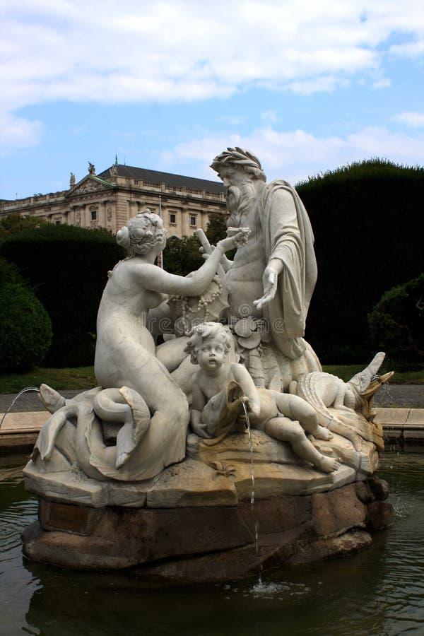 Fountain in the square of Maria Theresa, Vienna, Austria royalty free stock photo