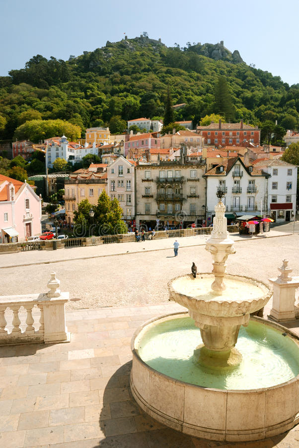 Fountain on square in Sintra royalty free stock photo