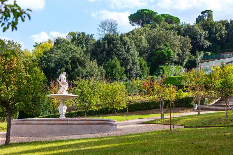 Fountain statue in Boboli gardens, Florence, Italy royalty free stock photography
