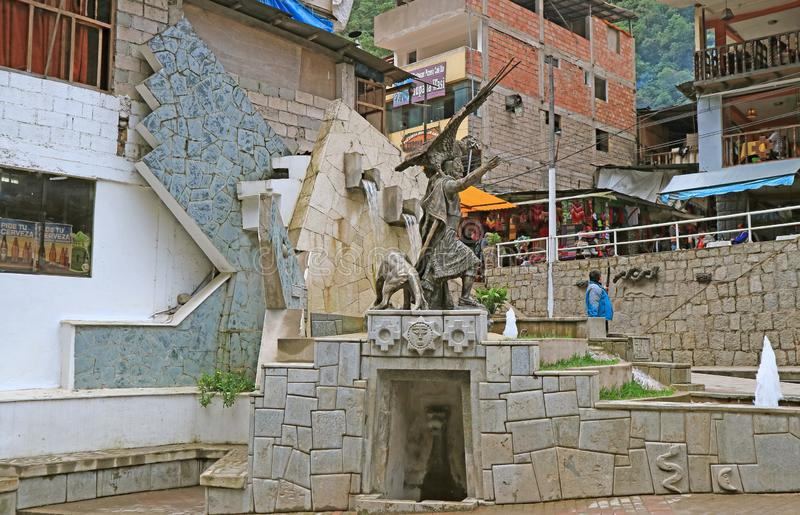 Fountain and Statue of the Inca Cosmological Trilogy at the Town of Aguas Calientes, the Gateway to Machu Picchu. Historical Site, Cusco Region, Peru, South stock images