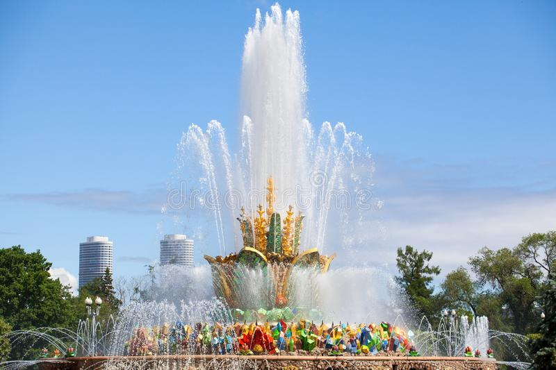 Fountain Stone Flower, Exhibition of Achievements of National Economy VDNKh in Moscow, Russia. Fountain Stone Flower on summer sunny day on blue sky and clouds royalty free stock images