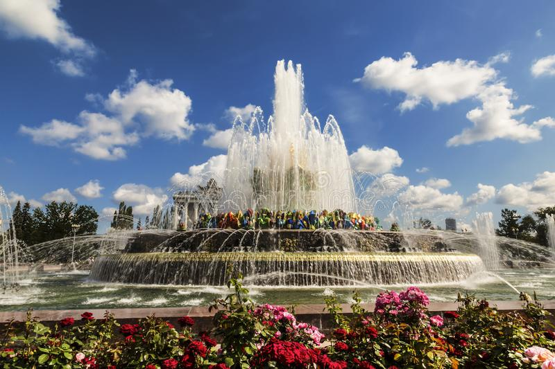 Fountain `Stone flower` on the territory of the All-Russian exhibition center VDNH. Moscow. Russia stock photo