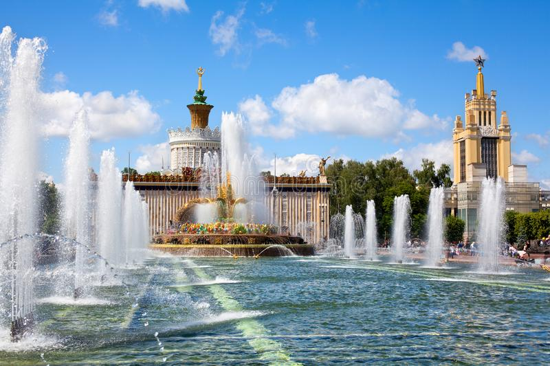 Fountain Stone Flower, Exhibition of Achievements of National Economy VDNKh in Moscow, Russia. Fountain Stone Flower on Ukraine Pavilion background on summer royalty free stock photos