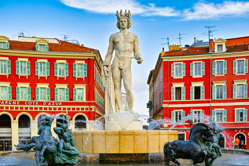 Fountain of the Sun in Nice stock photography