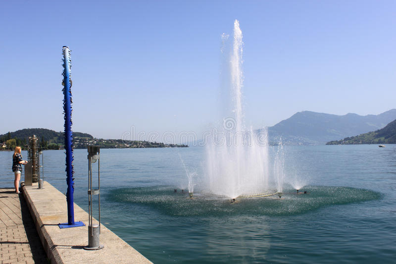 Fountain in Swiss Lake stock images