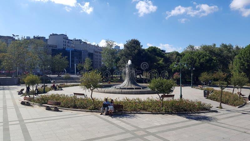 Fountain in Taksim Gezi Park. Taksim Gezi Park is an urban park next to Taksim Square royalty free stock photos