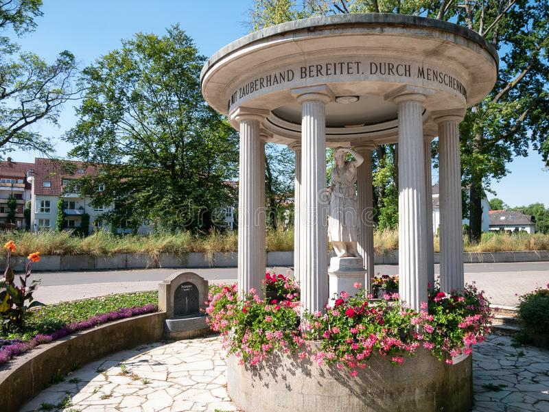 Fountain temple of Bad Vilbel. Hesse, Germany stock photo