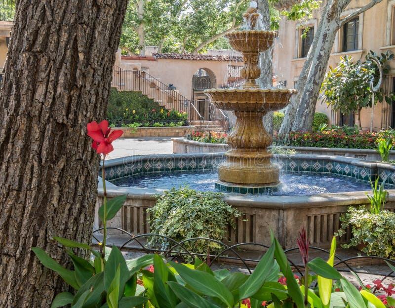 Fountain, Tlaquepaque in Sedona, Arizona. Central plaza fountain in Tlaquepaque Arts and Crafts Village in Sedona stock photo