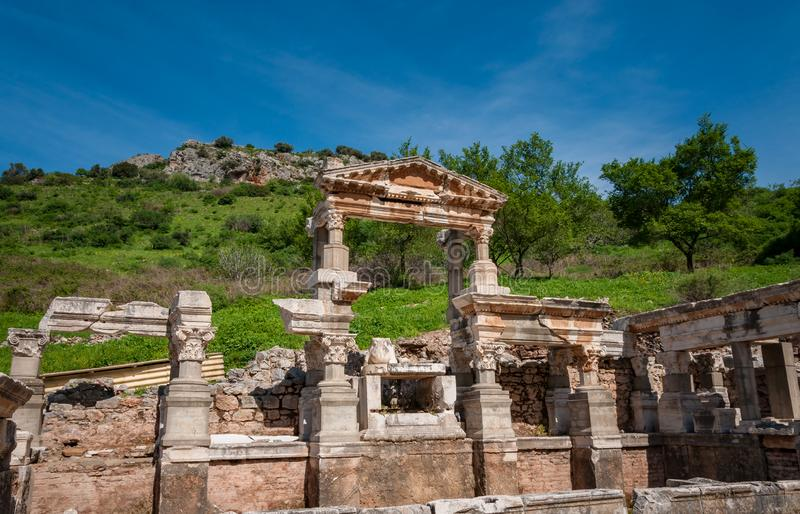 The Fountain of Traianus in Ephesus Ancient City, Izmir, Turkey.The ancient city is listed as a UNESCO World Heritage Site. The Fountain of Traianus in Ephesus stock photos
