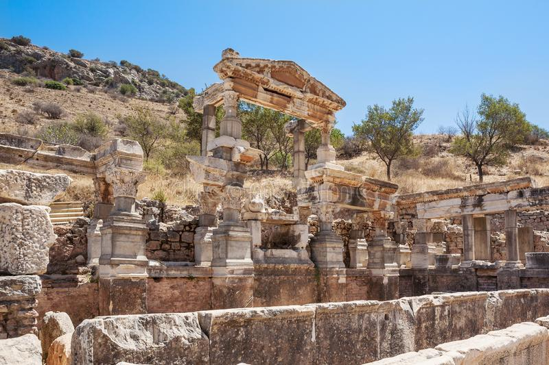 Fountain of Trajan in ancient Ephesus. Selcuk in Izmir Province, Turkey.  stock photography