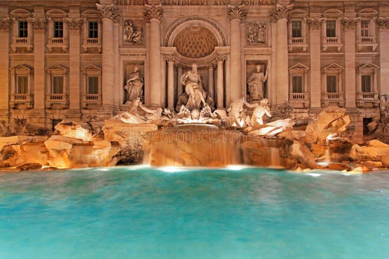 Fountain Trevi night stock image