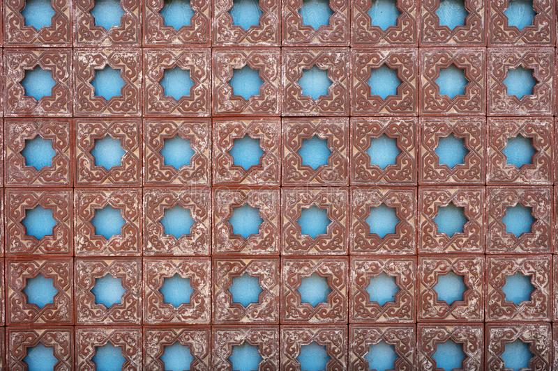 Fountain wall with a Moorish design in tile work royalty free stock images