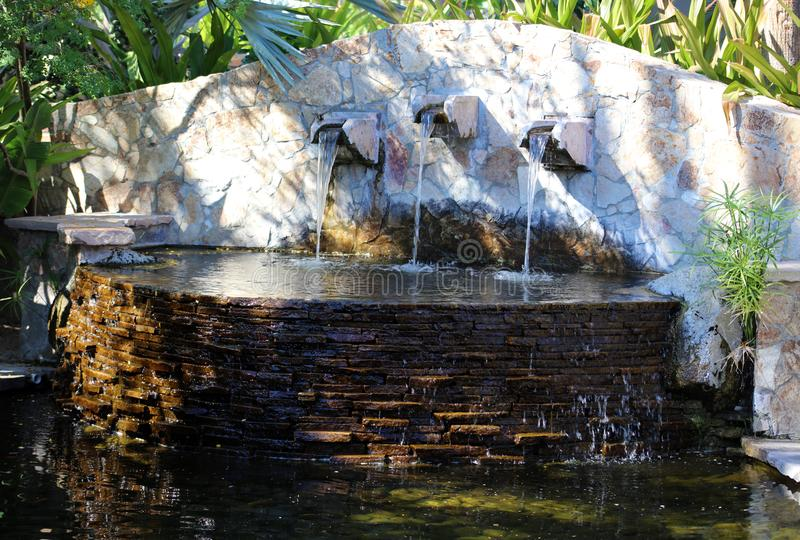 Fountain and water features at tropical paradise stock photo