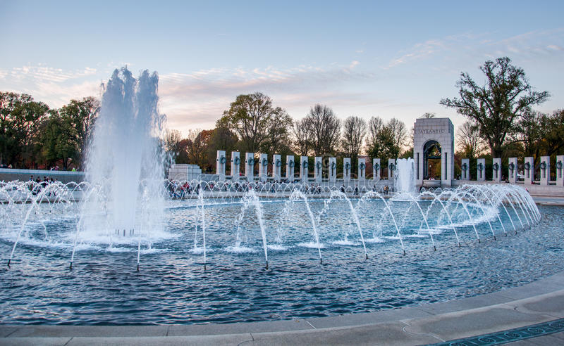 Fountain at the World War II Memorial. Washington D.C royalty free stock image
