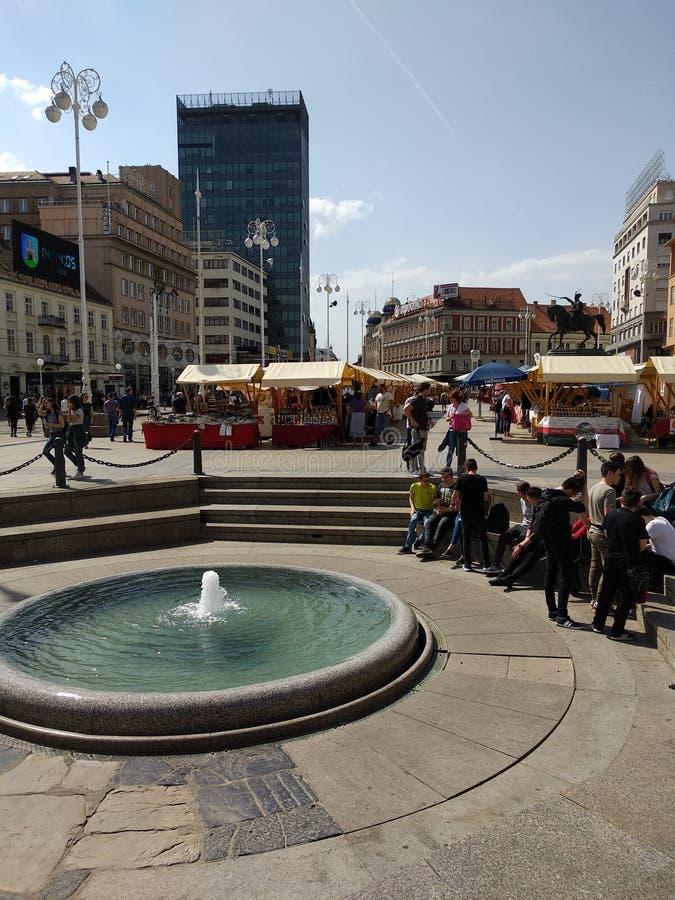 Fountain in Zagreb main squere stock photo
