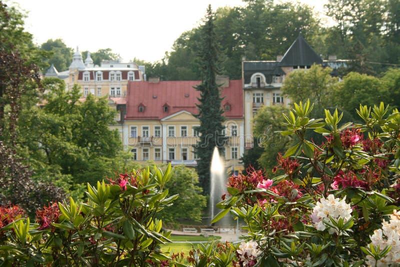 Fountaine in de stadstuin stock afbeelding