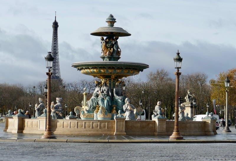 Fountaine des Mers, Place de La Concorde, Paris. Fountaine des Mers and Eiffel Towel, Place de La Concorde, Paris, France stock photo