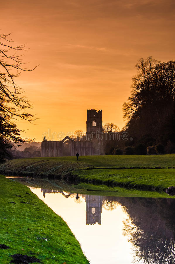 Fountains Abbey 2. Fountains Abbey in west yorkshire, uk royalty free stock image