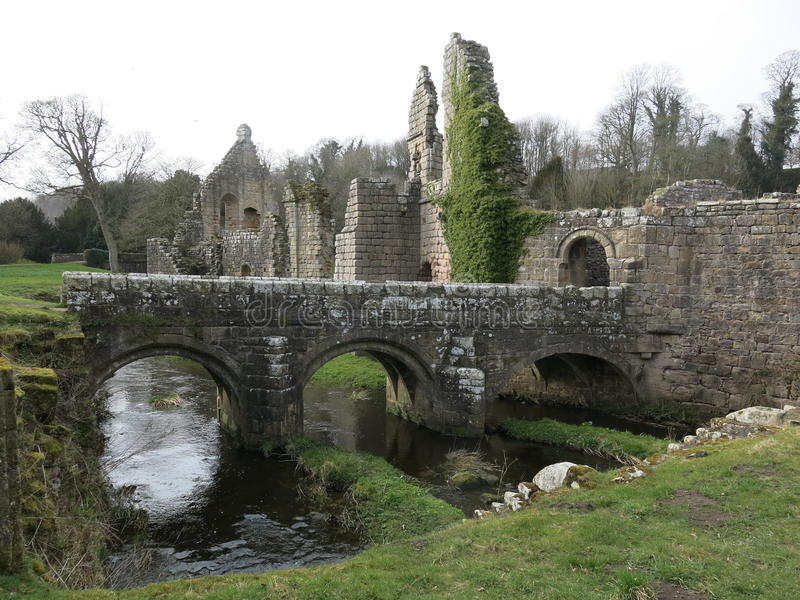 Fountains Abbey. Approach from the eastside of Studley Royal Water Garden Park royalty free stock photo