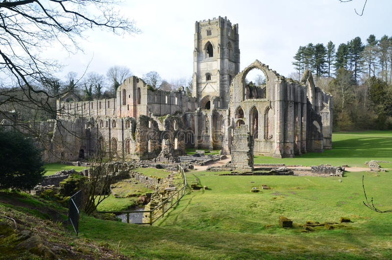 Fountains Abbey. Approach from the eastside of Studley Royal Water Garden Park royalty free stock photos