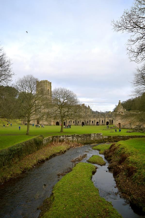Fountains Abbey. The historical 13th century Fountains Abby a UNESCO World Heritage Site stock photos