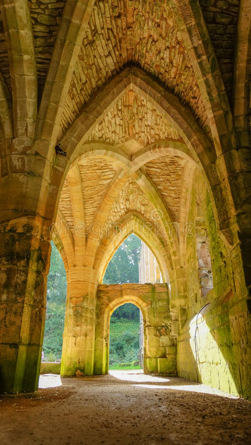 Fountains Abbey. Listed as a UNESCO`s World Heritage, is one of the largest and best preserved ruined Cistercian monasteries in England stock photo