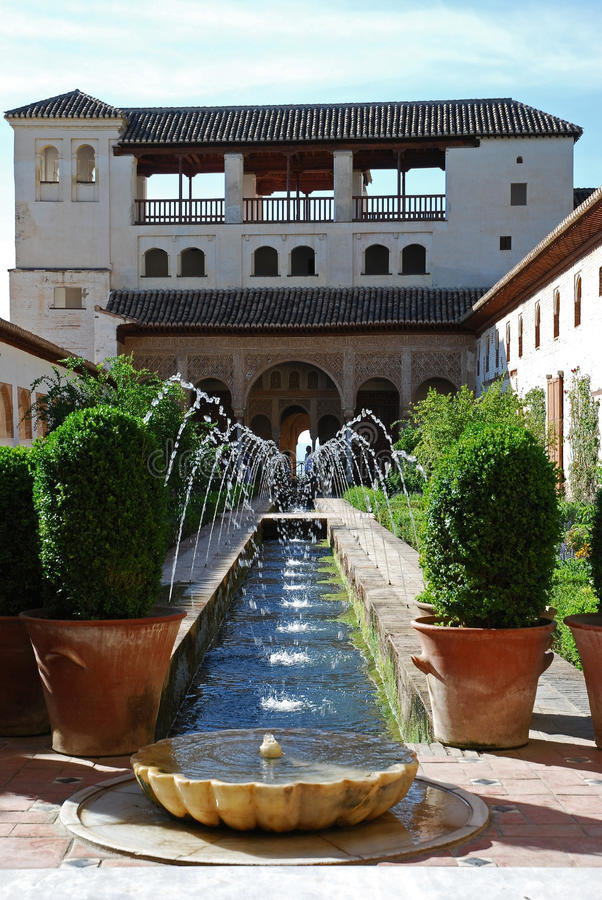 Fountains in Alhambra garden stock image