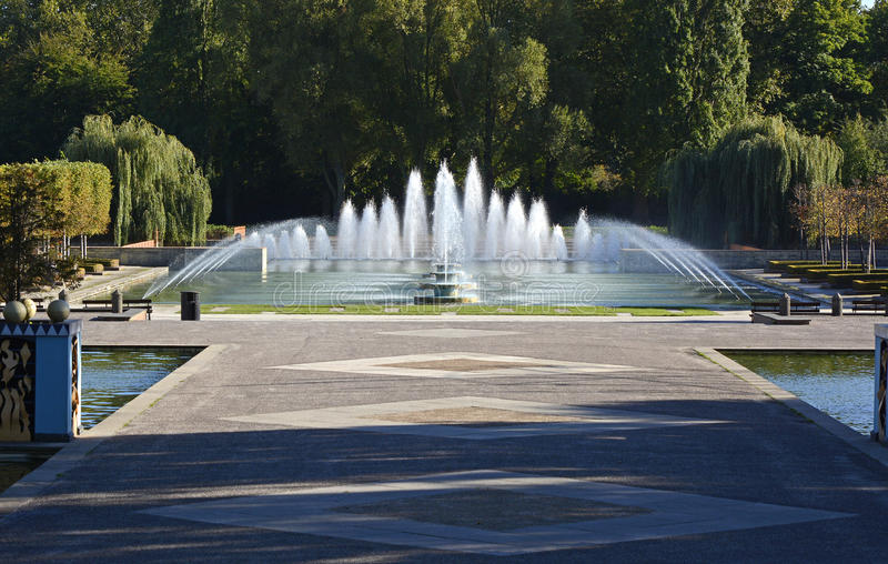 Fountains in Battersea Park, London, England. Fountains and pond in Battersea Park, London, England stock images