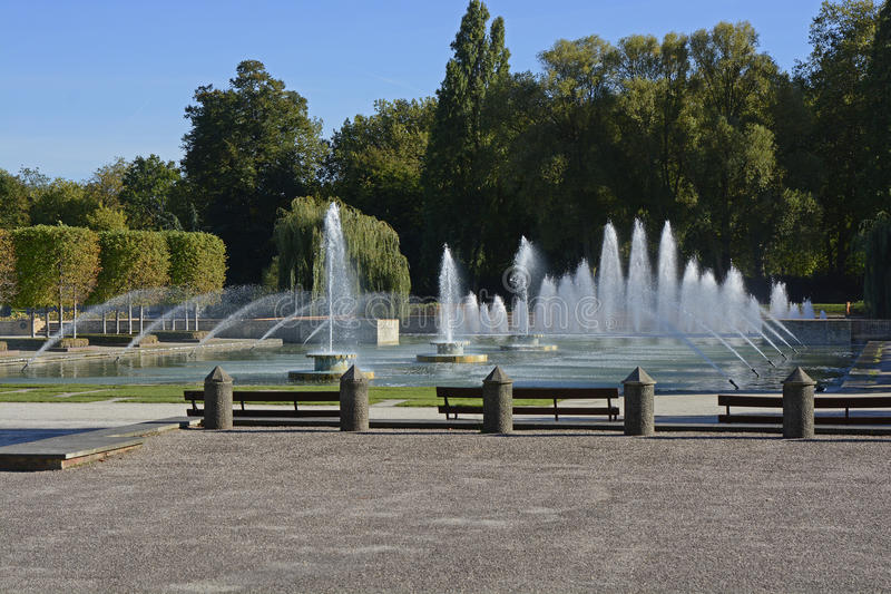 Fountains in Battersea Park, London, England. Fountains and pond in Battersea Park, London, England stock photography