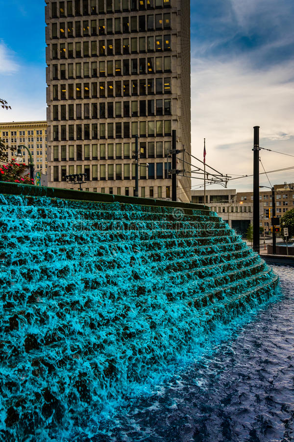 Fountains and building at Woodruff Park in downtown Atlanta, Geo. Rgia royalty free stock photography