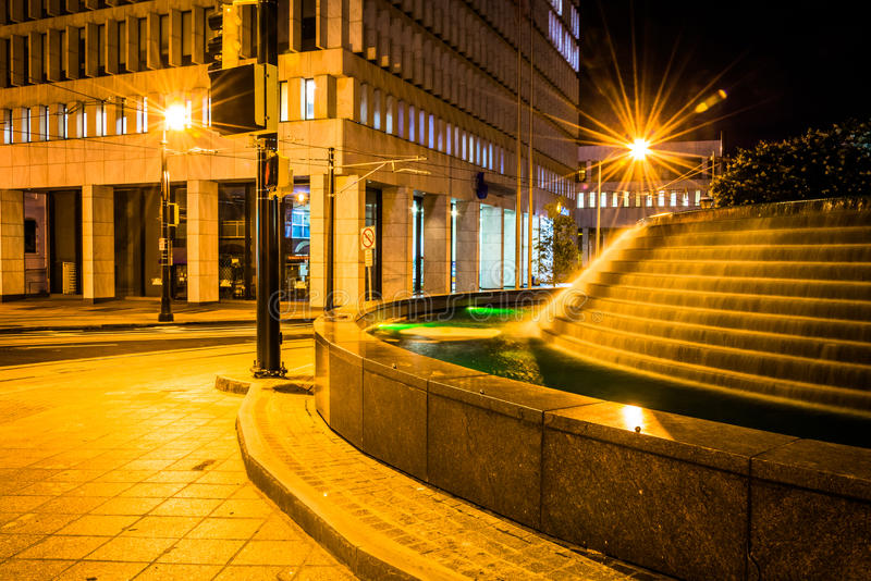 Fountains and buildings at night at Woodruff Park in downtown At. Lanta, Georgia stock photography