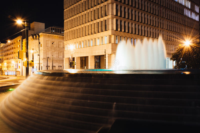 Fountains and buildings at night at Woodruff Park in downtown At. Lanta, Georgia stock photos