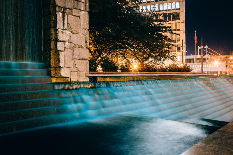 Fountains and buildings at night at Woodruff Park in downtown At. Lanta, Georgia royalty free stock photo