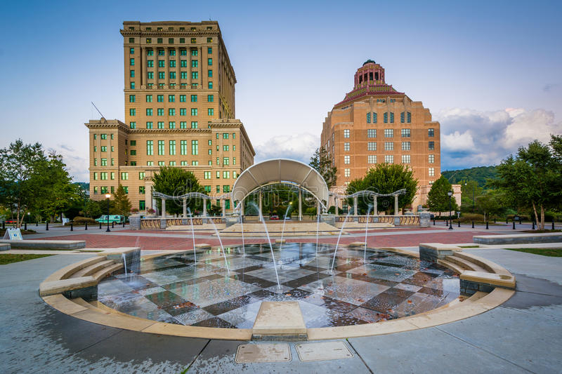 Fountains and buildings at Pack Square Park, in downtown Asheville, North Carolina. stock photography