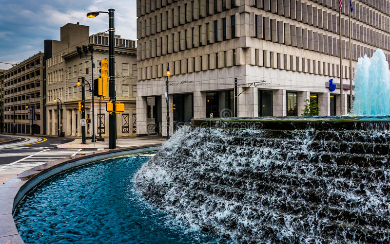 Fountains and buildings at Woodruff Park in downtown Atlanta, Ge. Orgia stock image