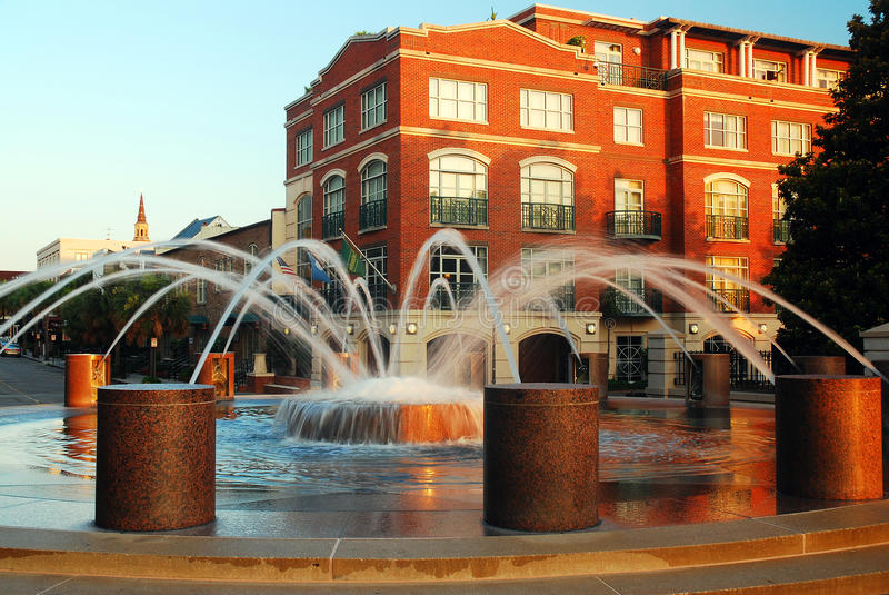 Fountains of Charleston. Fountain in the Waterfront Park, Charleston, South Carolina royalty free stock image