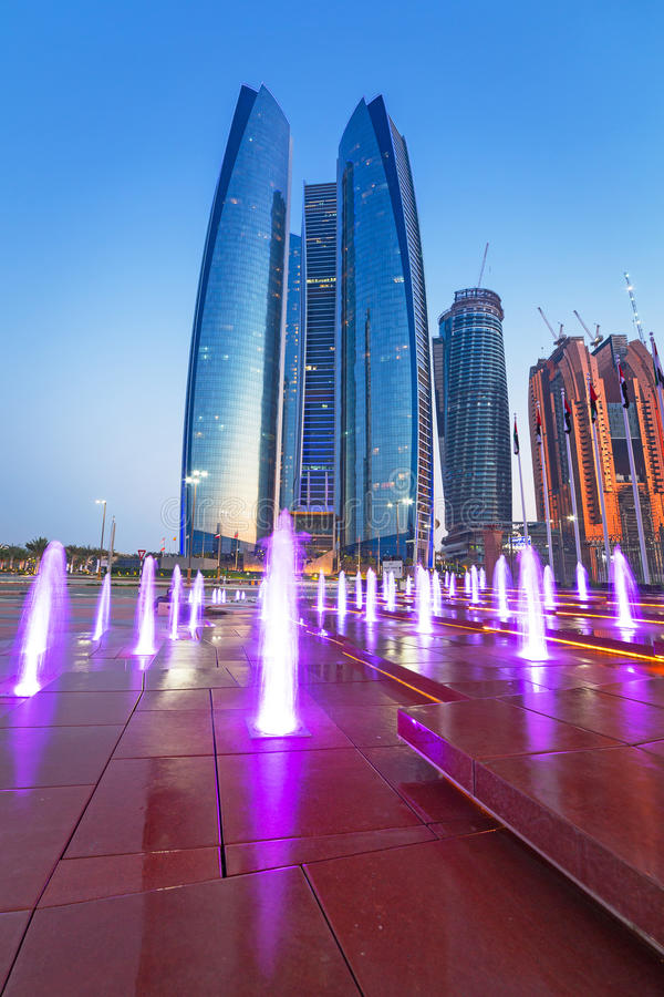 Fountains At The Etihad Towers In Abu Dhabi Editorial Stock Image