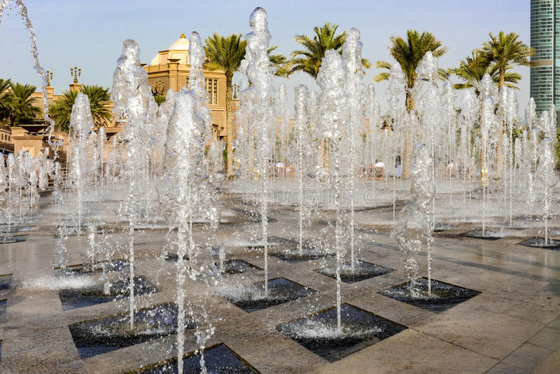 Fountains in front of Emirates Palace, Abu Dhabi stock photo