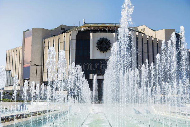 Fountains in front of the National Palace of Culture, Sofia, Bulgaria. Fountains in the garden of the National Palace of Culture which is the largest royalty free stock photos