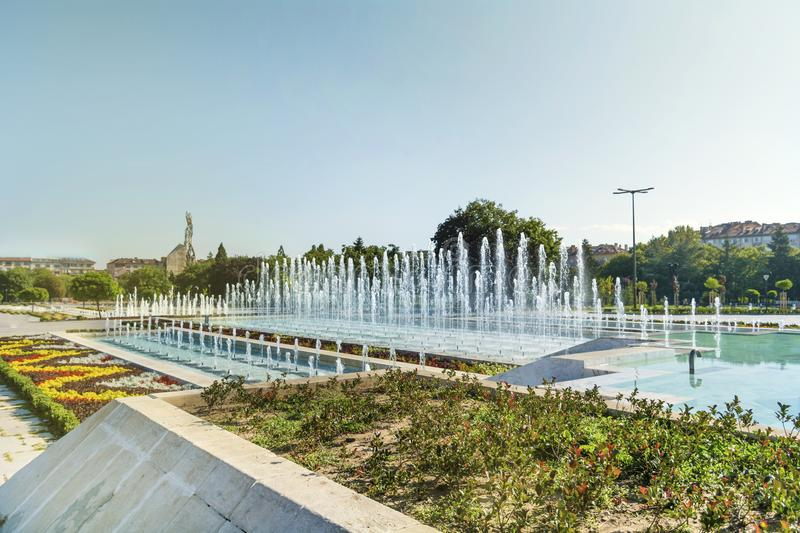 Fountains in front of the National Palace of Culture, Sofia, Bulgaria. Fountains in the garden of the National Palace of Culture which is the largest stock images