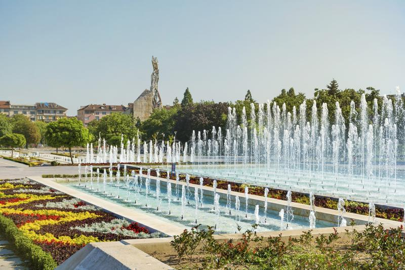 Fountains in front of the National Palace of Culture, Sofia, Bulgaria. Fountains in the garden of the National Palace of Culture which is the largest stock photos