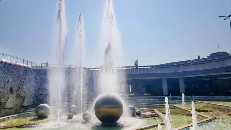 Fountains in front of the National Palace of Culture, Sofia, Bulgaria. SOFIA, BULGARIA - JULY, 20:fountains in the garden of the National Palace of Culture which royalty free stock photography