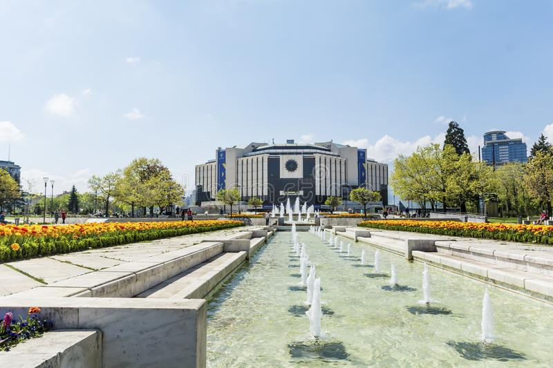 Fountains in front of the National Palace of Culture, Sofia, Bulgaria stock images