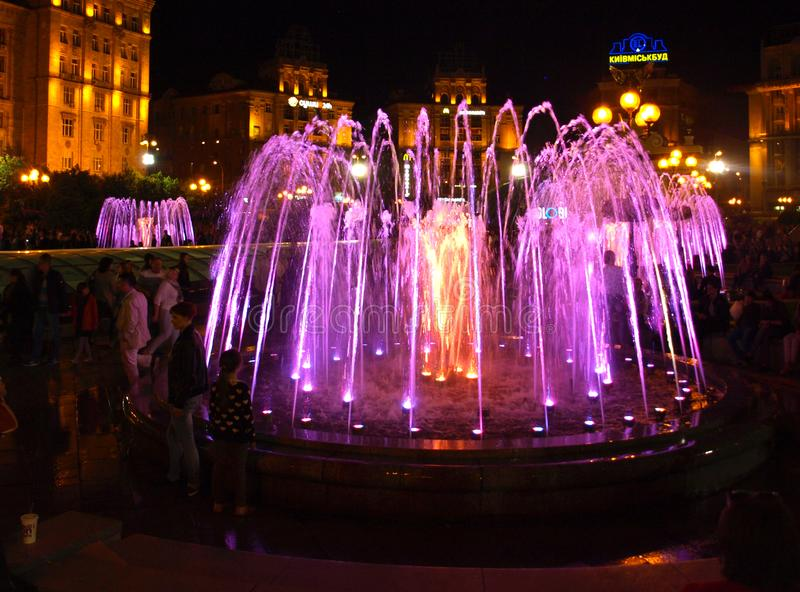 Fountains in Kiev. New glowing fountains in Kiev on the Independence Square royalty free stock photo
