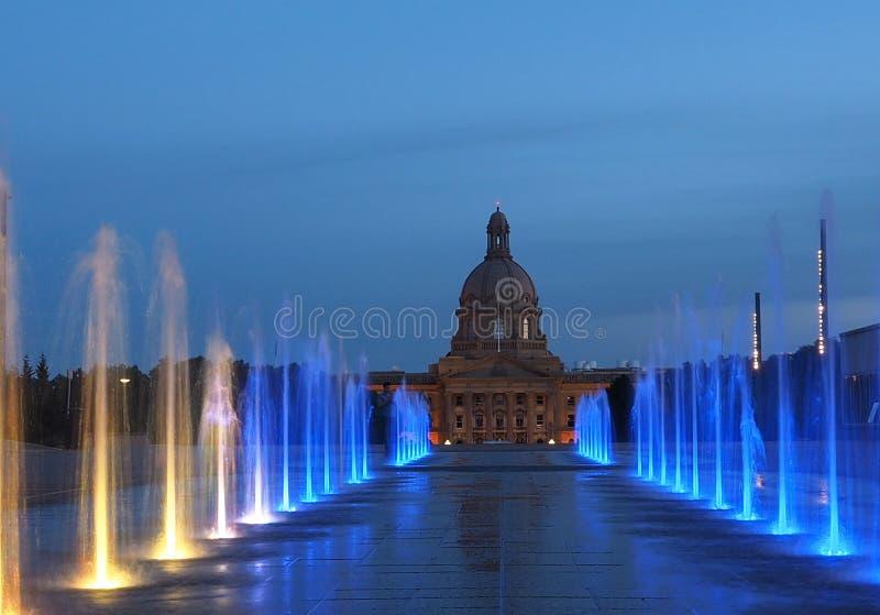 Fountains At Legislative Grounds Edmonton, Alberta. Multicoloured fountains at legislative grounds Edmonton Alberta royalty free stock photography