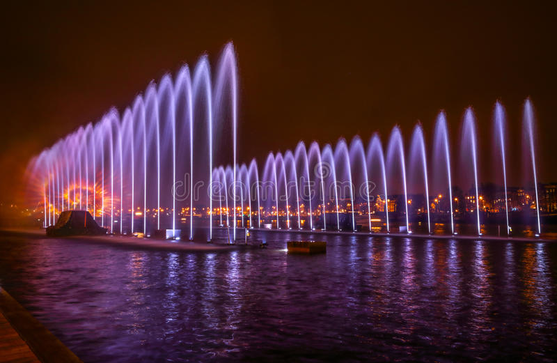 Fountains light art at night during the Amsterdam Light Festival royalty free stock image