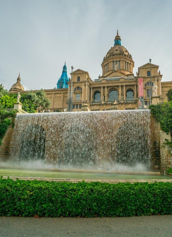 Fountains at the Museu Nacional d`Art de Catalunya stock image