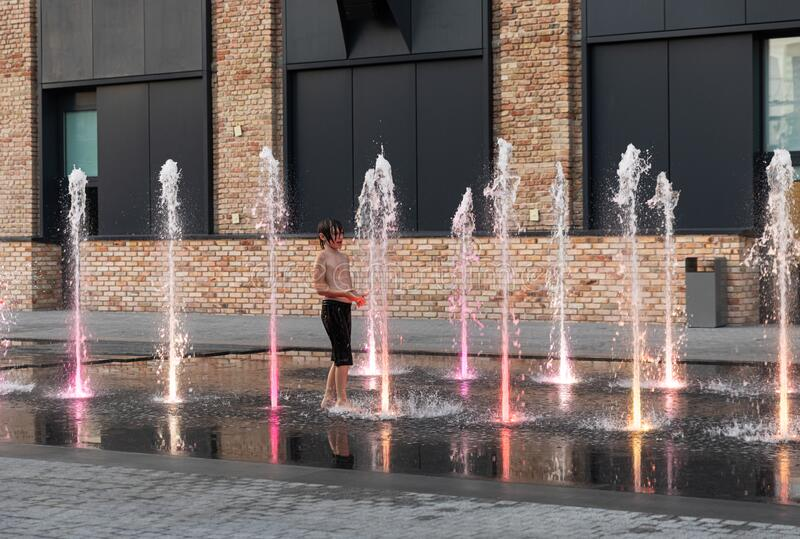 Fountains near the Roshen factory in Kiev royalty free stock photo