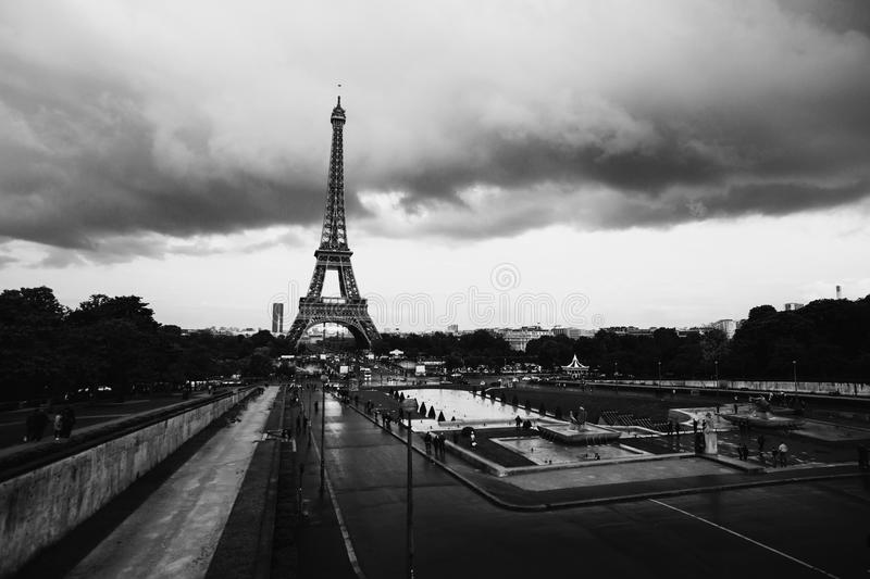 Black and white art monochrome photography. A beautiful European city. Euro-trip. Fountains in Paris at the Trocadero square near the Palace of Chaillot. Travel stock photos