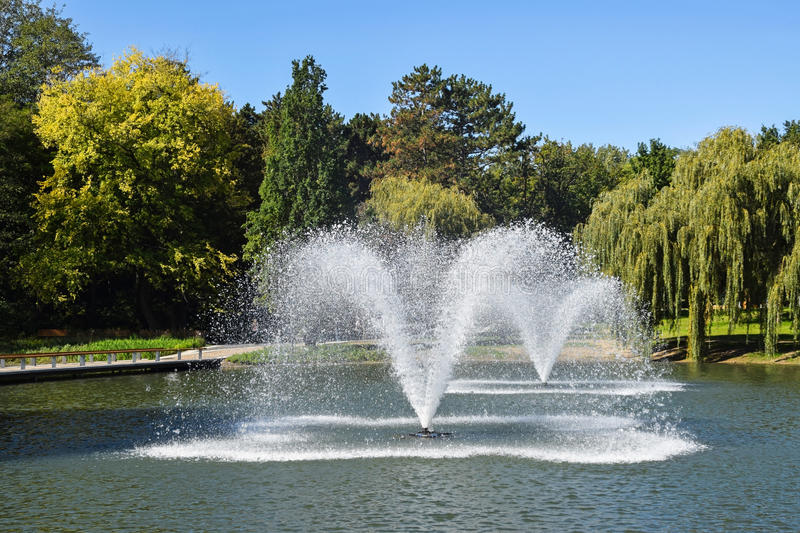 Fountains in the park. In summer royalty free stock images